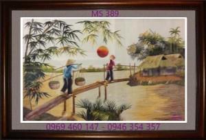 tranh thêu phong cảnh làng quê 389