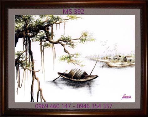 tranh thêu phong cảnh làng quê 392