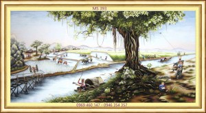 tranh thêu phong cảnh làng quê 393