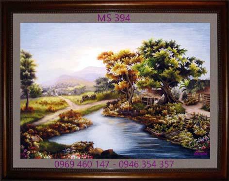 tranh thêu phong cảnh làng quê 394