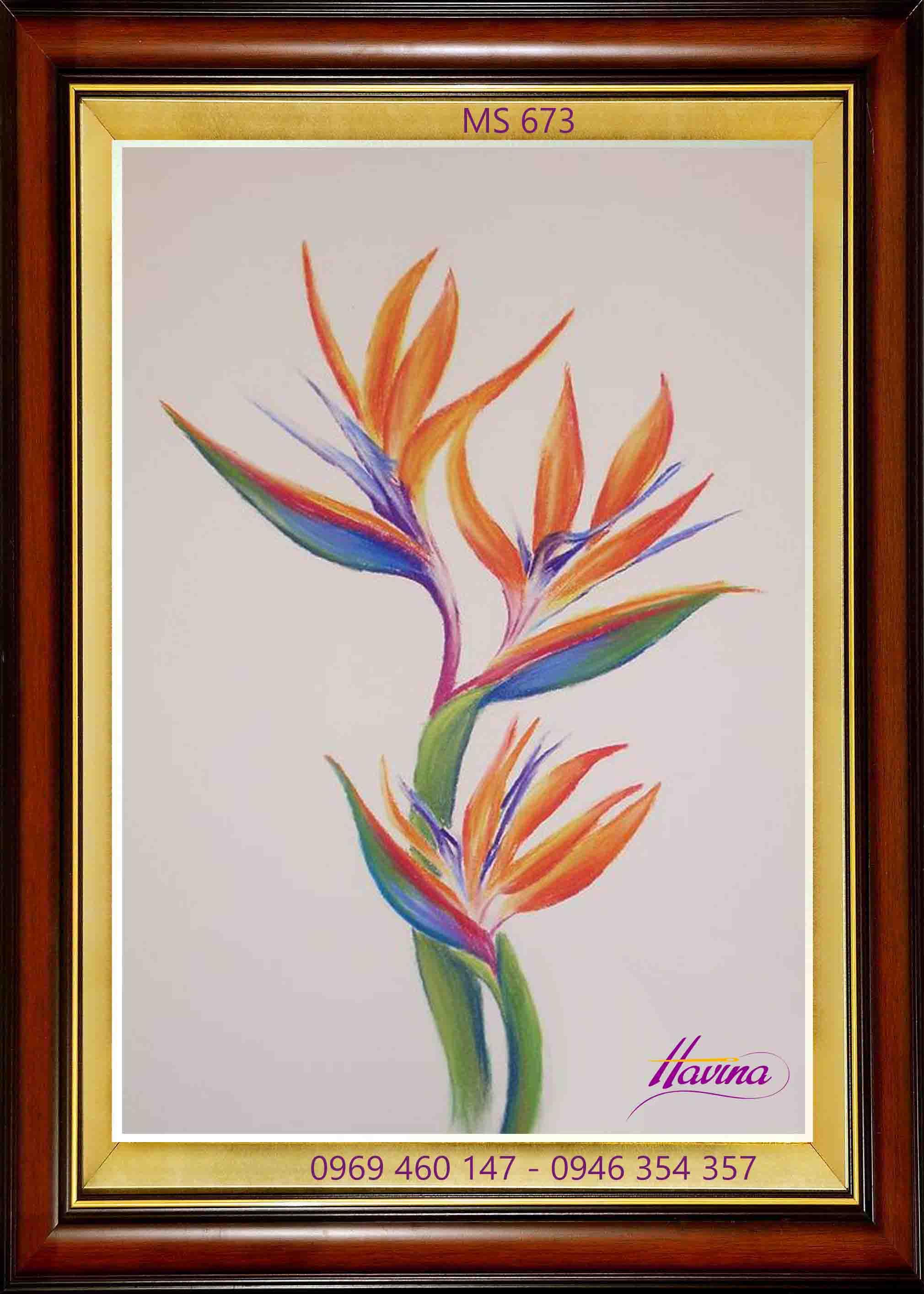 tranh thêu hoa thiên điểu