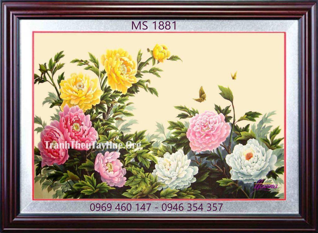 tranh thêu hoa mẫu đơn 9 bông