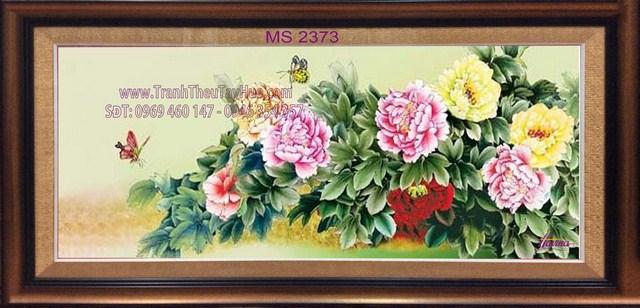 Tranh thêu hoa mẫu đơn 8 bông