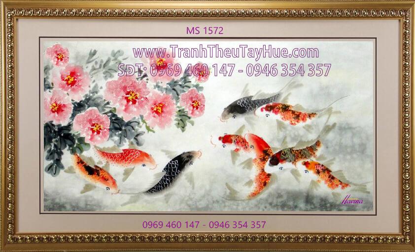 Tranh thêu hoa mẫu đơn 9 bông MS 1572