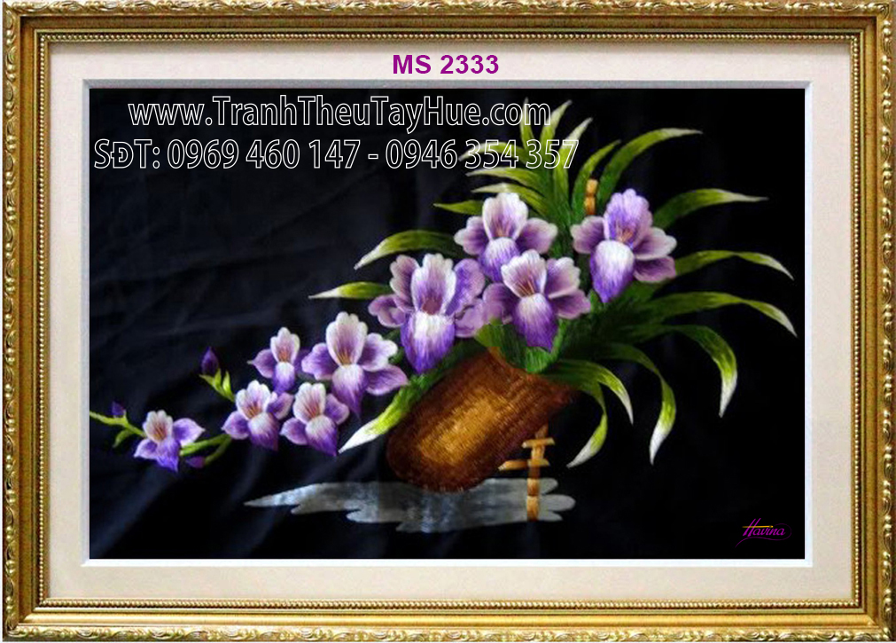 tranh thêu truyền thống hoa lan