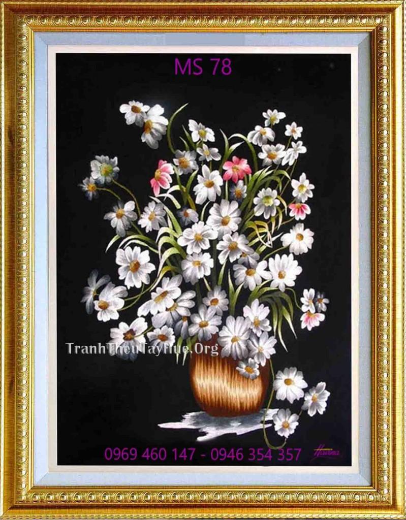 tranh thêu hoa cúc