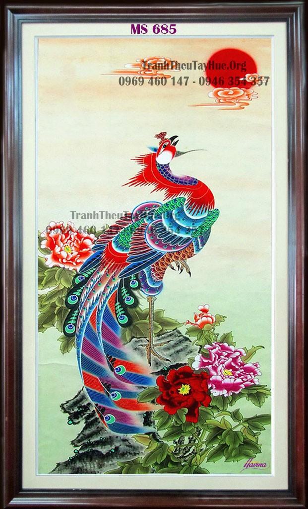 tranh thêu chim phượng hoàng
