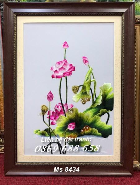 Tranh thêu hoa sen tặng Thầy Cô ms 8434
