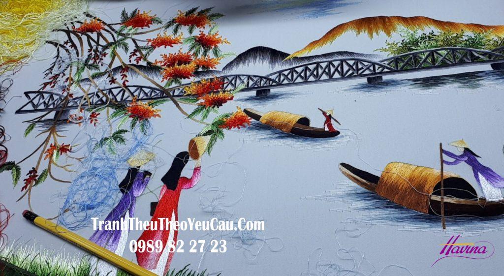 tranh thêu tay phong cảnh thiên nhiên huế