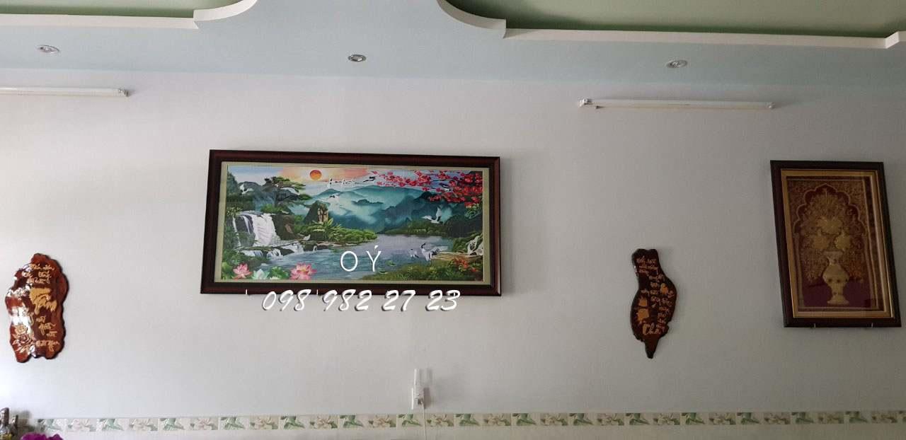 Tác phẩm tranh thêu sơn thủy hữu tình theo yêu cầu của anh Kiệt đến từ Sóc Trăng