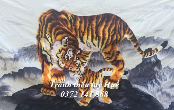 Tranh thêu con hổ anh Toàn đặt thêu