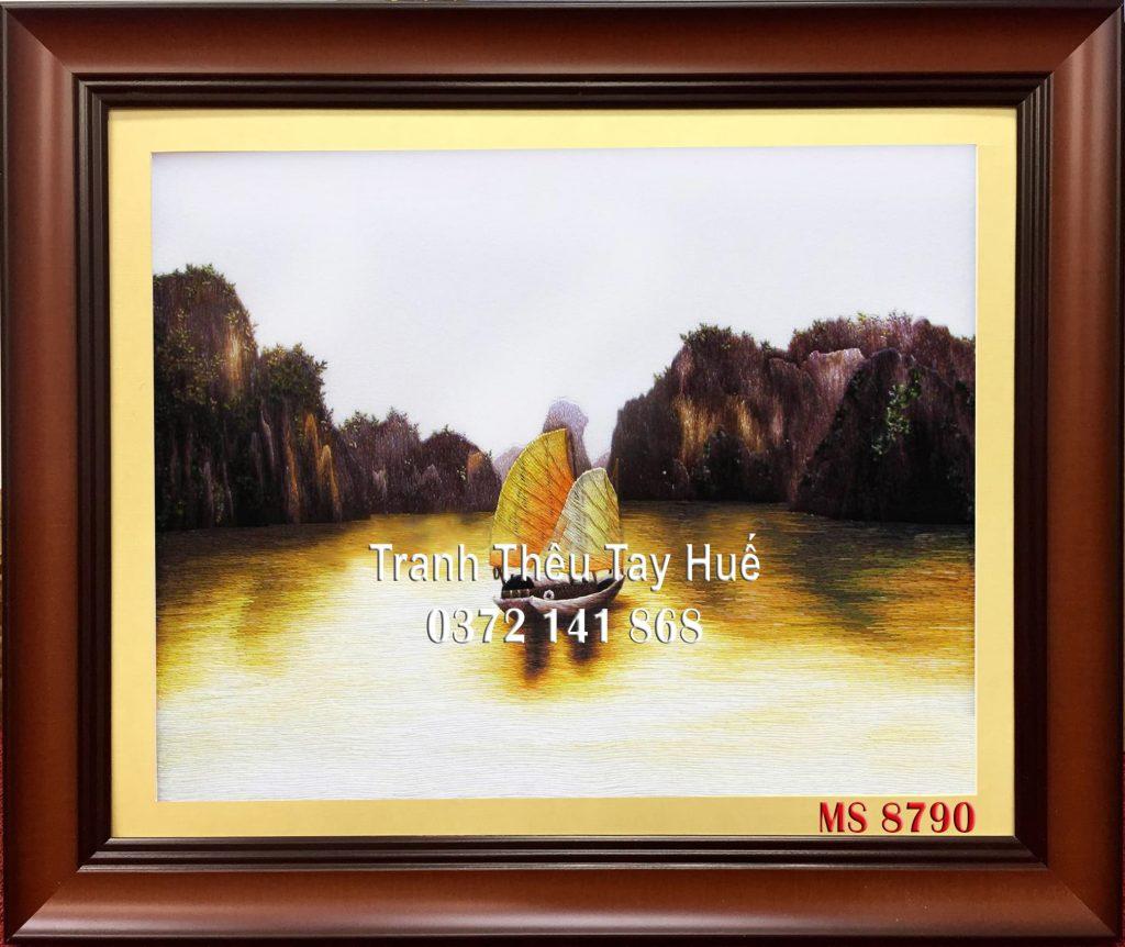 tranh thêu vịnh hạ long